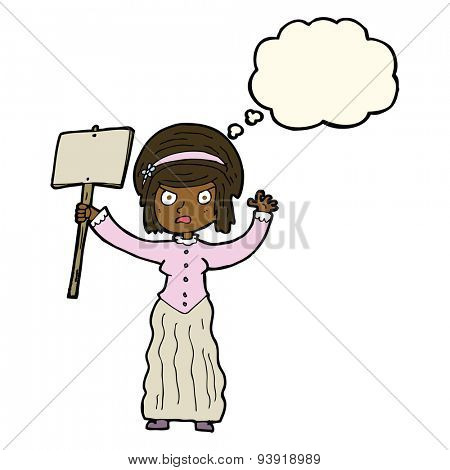 cartoon Victorian woman protesting with thought bubble poster