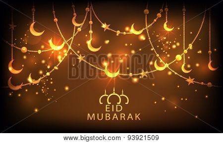 Beautiful greeting card design with golden crescent moon and star on shiny brown background for Muslim community festival, Eid Mubarak celebration.