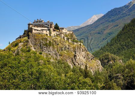 Middle Age Castle On Hilltop, Queyras Region, French Alps