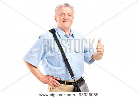 Mature mailman giving a thumb up isolated on white background