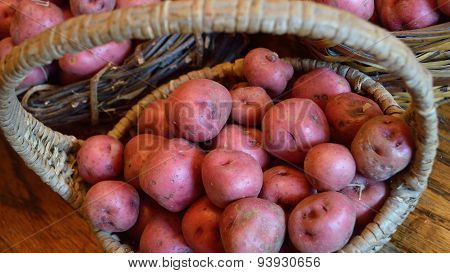 Widescreen Size Of Basket With Small Red New Potatoes