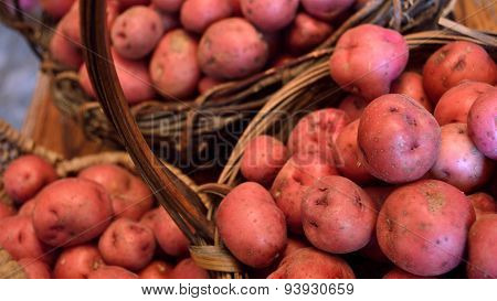 Widescreen Size Of Baskets Of Small Red New Potatoes