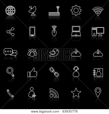 Network Line Icons With Reflect On Black