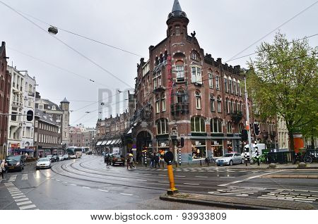 Amsterdam, Netherlands - May 16, 2015: People At Westermarkt District In Amsterdam