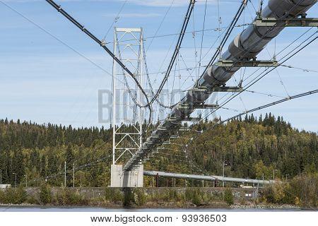 Alaska, September 9, 2013: Trans Alaska oil pipeline, crossing over a river near Fairbanks, Alaska