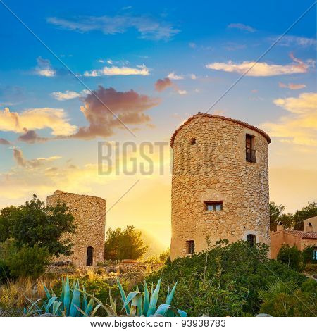 Javea Xabia el molins at sunset in Mediterranean Alicante at Spain