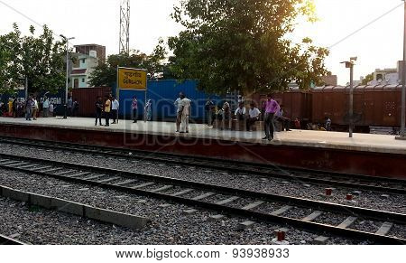 Passengers Waiting At Gurgaon Station