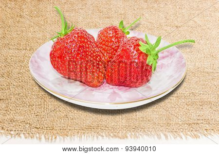 Saucer With Strawberries