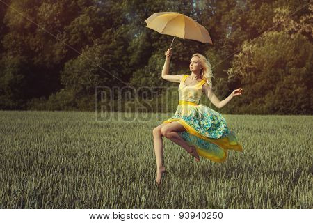 Girl With An Umbrella Levitates