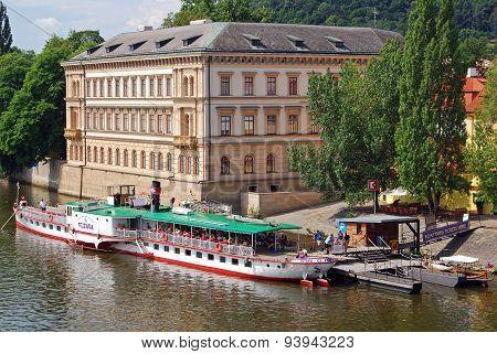Riberboat and building, Prague.