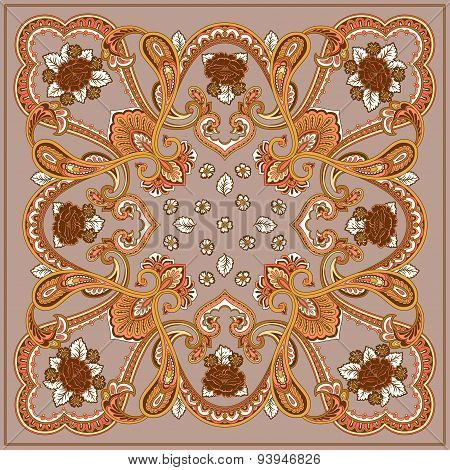 Geometric floral square element, brown and beige