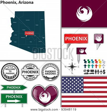 Vector set of Phoenix Arizona in USA with flag and icons on white background poster
