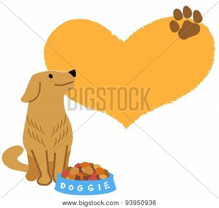 Golden Retriever Looking Up With Big Heart Shape In The Background