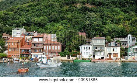 Houses at the coastline of Anadolu Kavagi,Istanbul, Turkey