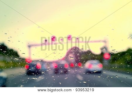 Bad Weather Driving - traffic jam on a highway