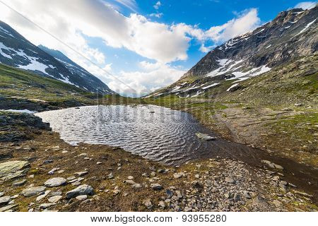 Little Lake At High Altitude In The Alps