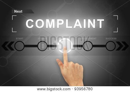 Hand Clicking Complaint Button On A Screen Interface