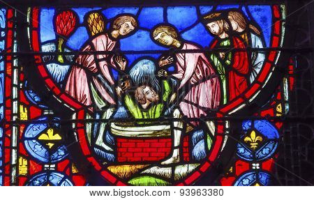 Baptising King In Water Stained Glass Sainte Chapelle Paris France