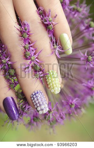 Pearl nail design .