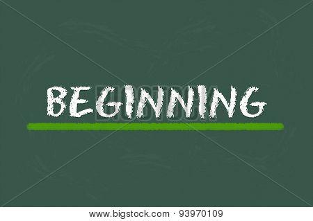 Beginning White Script On A Green Blackboard
