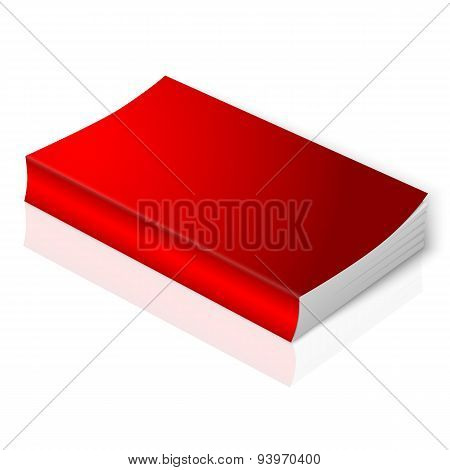 Realistic bright red blank softcover book. Isolated on white background with reflection for your des