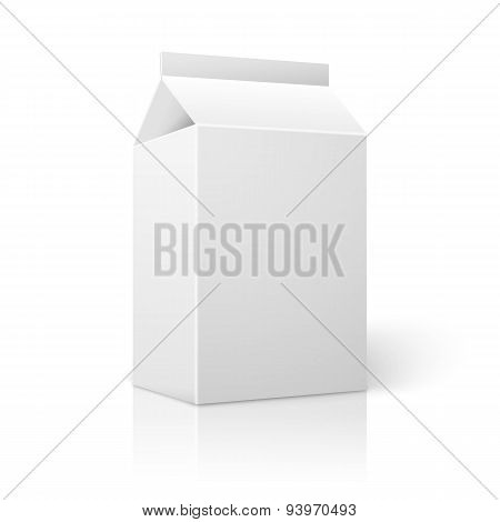 Realistic small white blank paper package for milk, juice, cocktail etc.. Vector