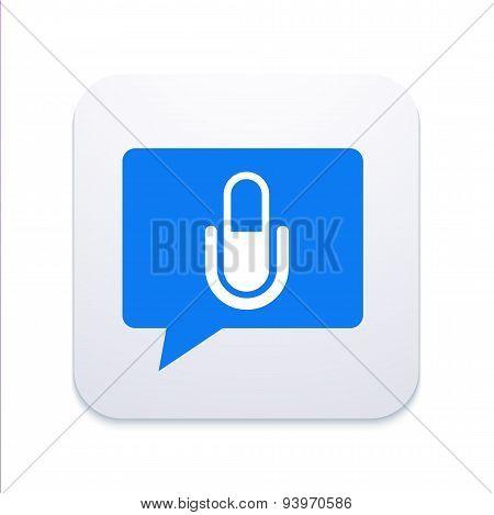 Vector modern microphone icon in  bubble speech