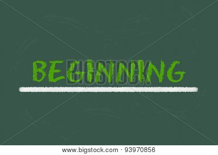 Beginning Green Script On A Green Blackboard