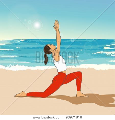 Vector yoga illustration. Woman makes exercises on a sea background.