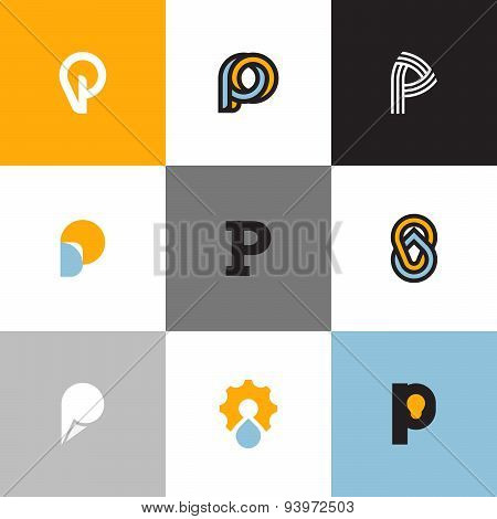 Set Of Letter P Logo Templates With Drop And Light Bulb. Collection Of Creative Vector Icons