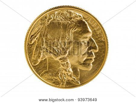 Fine Gold Buffalo Coin On White Background