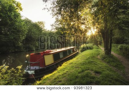Beautiful Summer Dawn Sunrise Landscape Of Barge Long Boat On Canal
