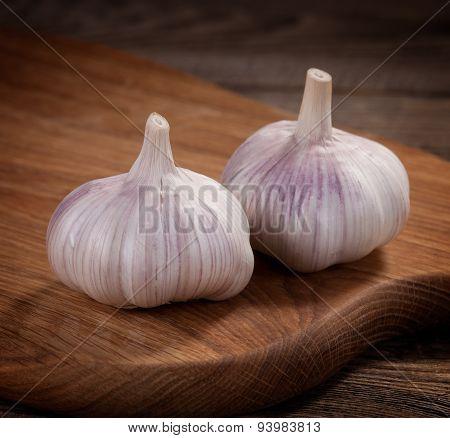 Fresh Garlic On A Cutting Board