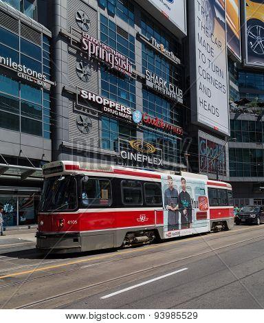 Toronto Streetcar At Yonge Dundas Square