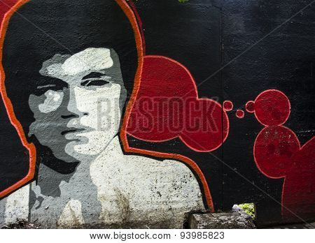 MOSCOW - JUNE 21, 2015: Graffiti on a urban wall (near B. Novodmitrovskaya street). Bruce Lee portrait