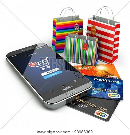 E-commerce. Online internet shopping. Mobile phone, shopping bags and credirt cards.  3d