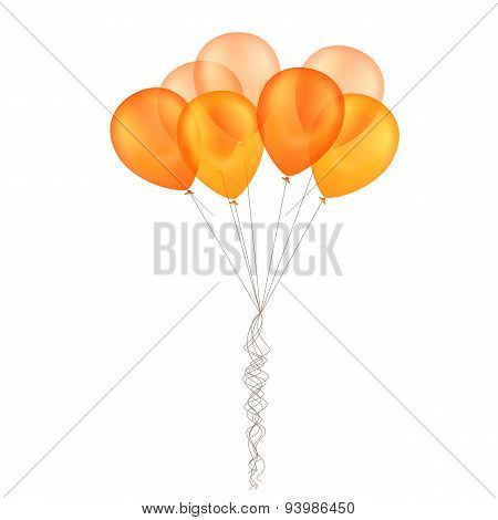 Vector Orange Yellow Balloons Isolated Background