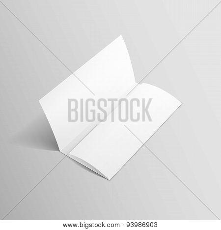 White Trifold Brochure Leaflet Zigzag Folded Flyer