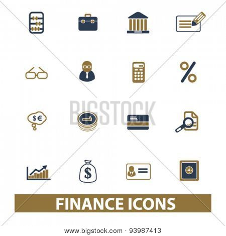 finance, bank, investment isolated icons, illustrations, vector