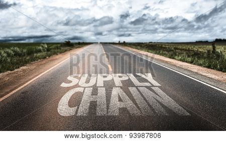 Supply Chain written on rural road