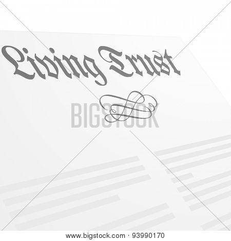 detailed illustration of a Living Trust letter head, eps10 vector