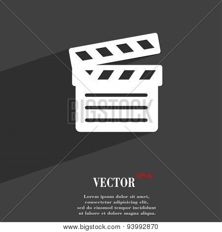 Cinema Clapper Icon Symbol Flat Modern Web Design With Long Shadow And Space For Your Text. Vector