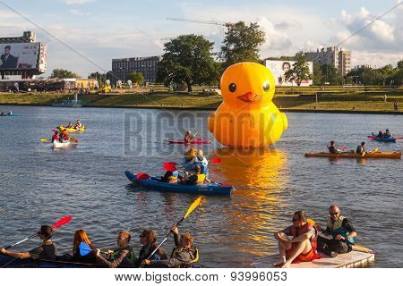 KRAKOW, POLAND - JUNE 21, 2015: Unidentified participants during a public event called 4th Water Critical Mass. The annual event is held for since 2012 under the motto - Vistula for All.