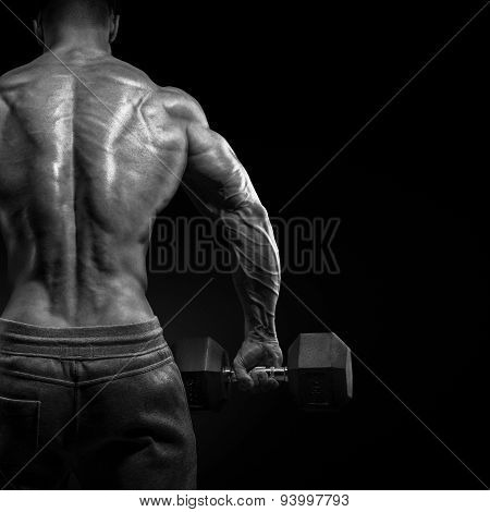 Muscular male model bodybuilder doing exercises with dumbbells turned back. Isolated over black background. poster