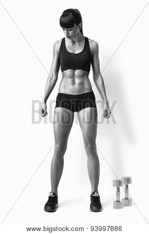 Fit Female Athlete In Activewear Ready To Doing Exercise With Dumbbells