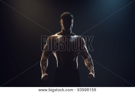 Silhouette Of A Strong Fighter
