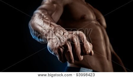 Close-up Of Athletic Muscular Arm And Torso