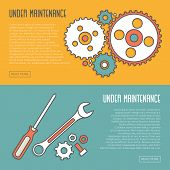 Cogwheels Screwdriver Wrench and Spares Isolated. Under Maintenance Website Page Message Banners. Trendy Line Design with Flat Elements. Vector Illustration poster