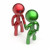 Two men handshake cartoon characters shaking hand business partners deal 2 different businessmen teamwork acquaintance agreement welcome meeting people icon concept red green poster