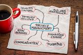 project management flow chart or mindmap - a sketch on a napkin with cup of coffee poster